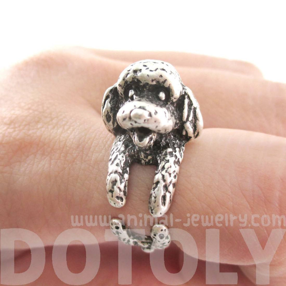 3D Realistic Toy Poodle Puppy Dog Shaped Animal Wrap Ring in Silver | US Sizes 5 to 8 | DOTOLY