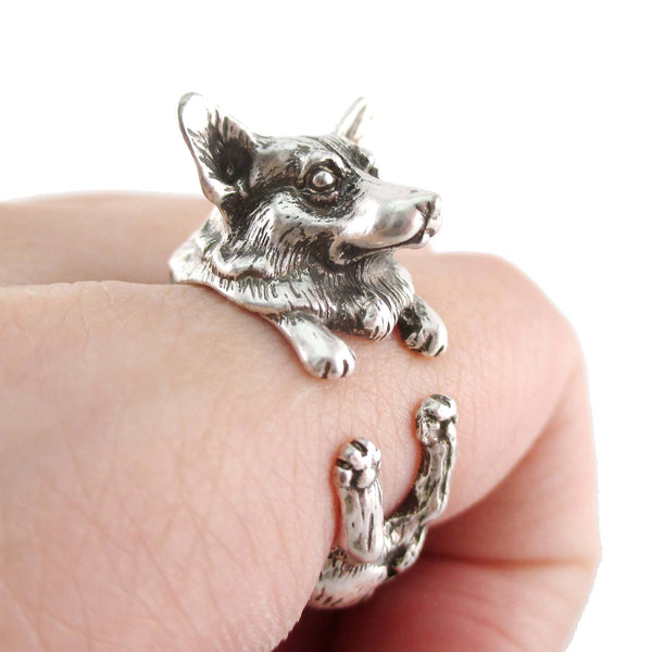 3D Realistic Welsh Corgi Puppy Dog Shaped Animal Wrap Ring in Silver | US Sizes 6 to 9 | DOTOLY