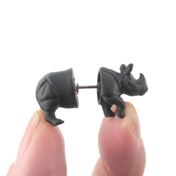 3D Rhinoceros Rhino Shaped Front and Back Stud Earrings in Black