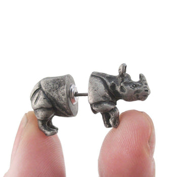3D Rhinoceros Rhino Shaped Front and Back Stud Earrings in Silver