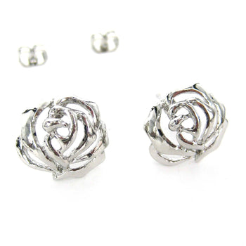 3D Rose Shaped Floral Cut Out Stud Earrings in Silver | DOTOLY | DOTOLY