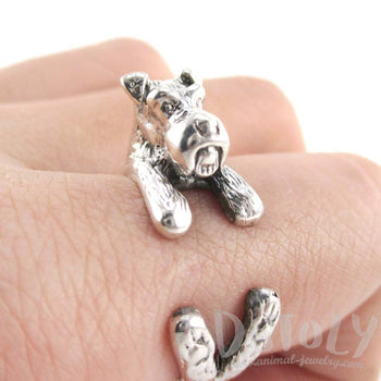 3D Schnauzer Dog Shaped Animal Wrap Ring in 925 Sterling Silver | US Sizes 4 to 9 | DOTOLY