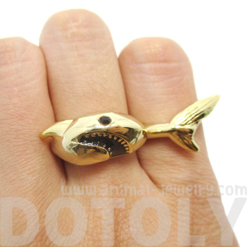 3D Shark Shaped Sea Animal Wrap Around Ring in Gold | DOTOLY | DOTOLY