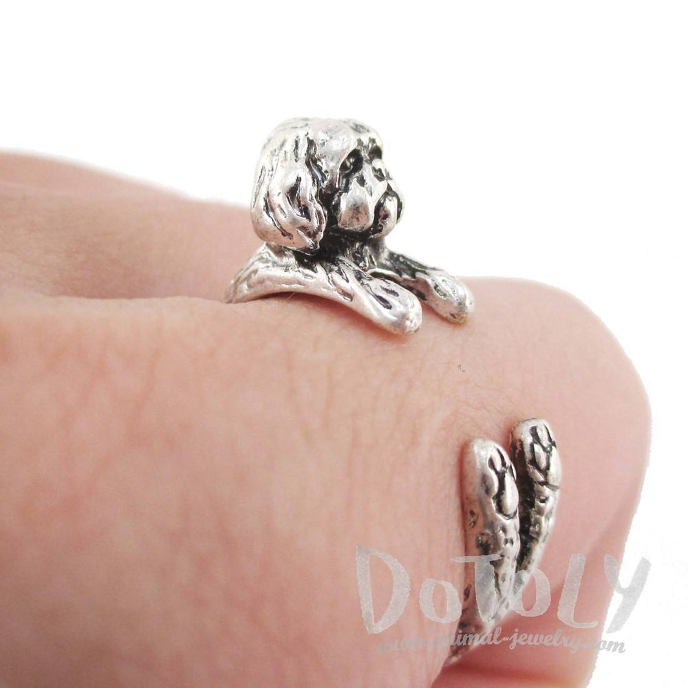 3D Shih Tzu Dog Shaped Animal Wrap Ring in Silver | Animal Jewelry