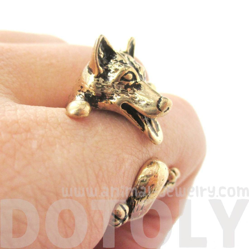 3D Siberian Husky Dog Shaped Animal Wrap Ring in Shiny Gold | Sizes 6 to 9 | DOTOLY