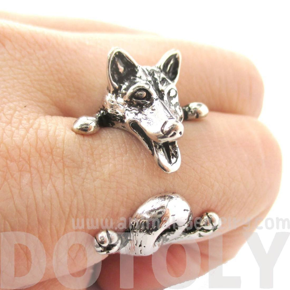3D Siberian Husky Dog Shaped Animal Wrap Ring in Shiny Silver | Sizes 6 to 9 | DOTOLY