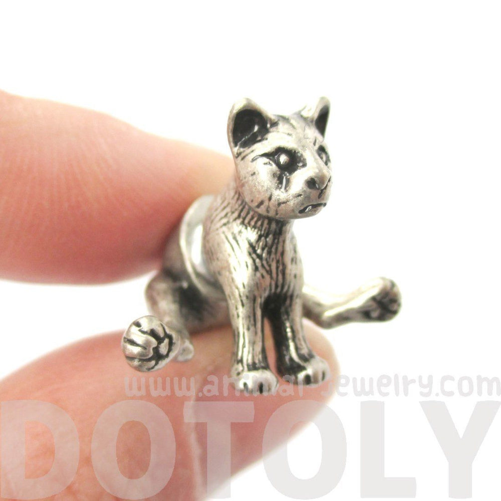3D Sitting Kitty Cat Shaped Two Part Front and Back Stud Earrings in Silver | DOTOLY | DOTOLY