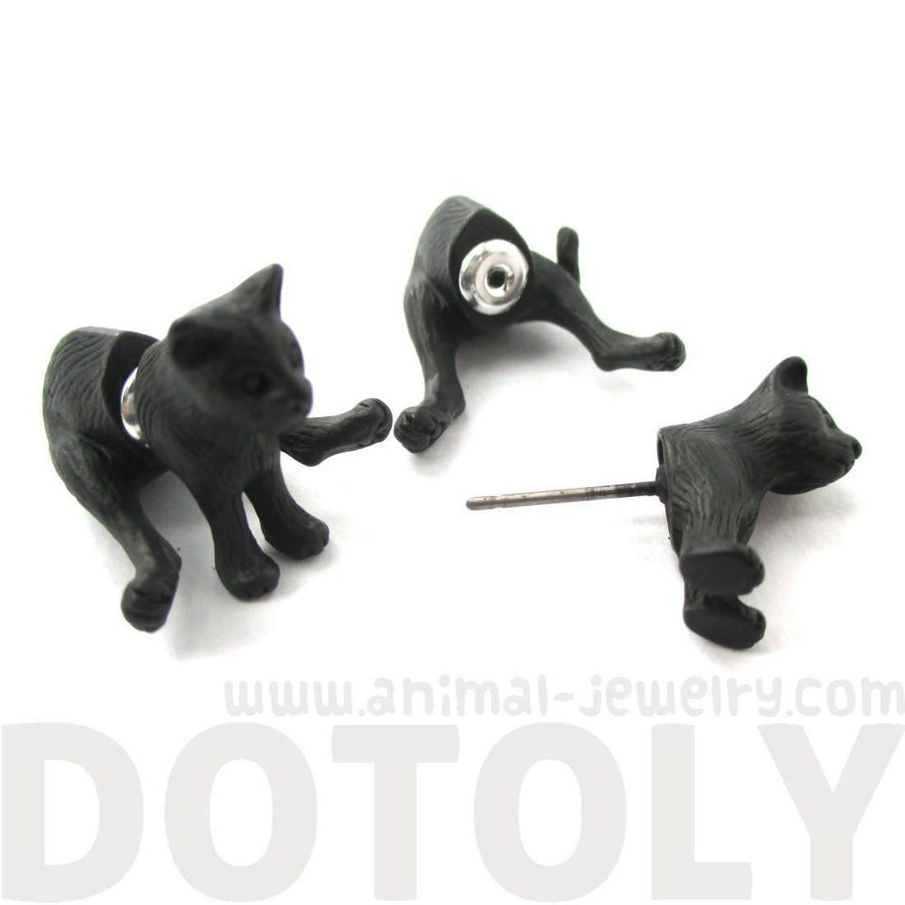 3D Sitting Kitty Cat Shaped Two Part Front Back Stud Earrings in Black | DOTOLY | DOTOLY