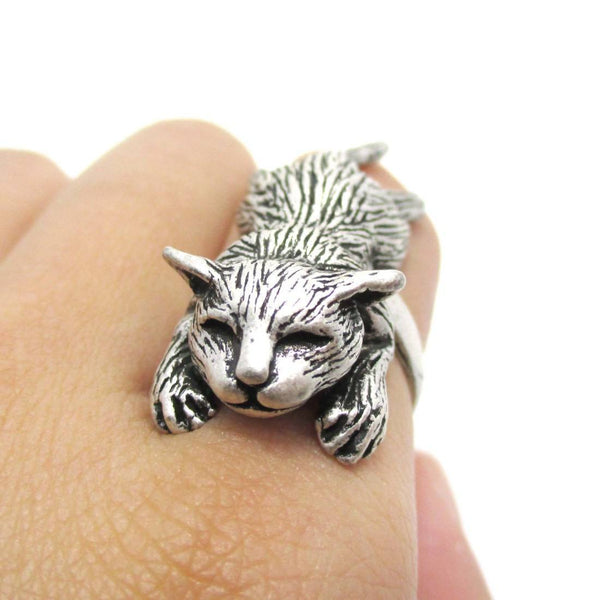 3D Sleeping Kitty Cat Shaped Animal Ring in Silver | US Sizes 5 to 9 | DOTOLY