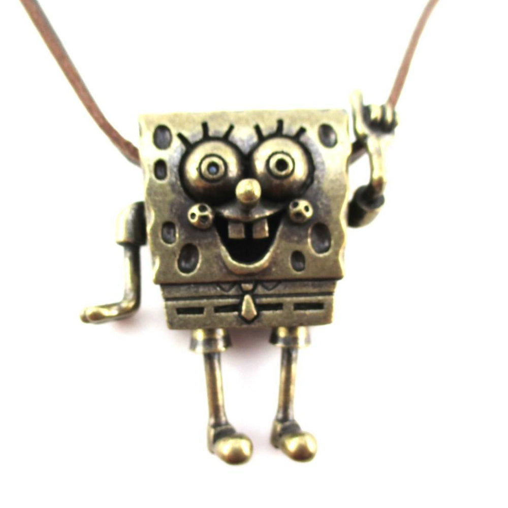 3D SpongeBob SquarePants Shaped Nickelodeon Pendant Necklace in Brass | DOTOLY | DOTOLY