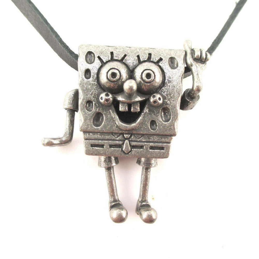 3D SpongeBob SquarePants Shaped Nickelodeon Pendant Necklace in Silver | DOTOLY | DOTOLY