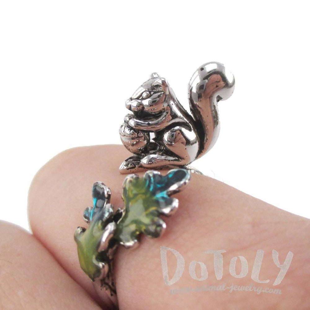 3D Squirrel on a Branch Shaped Adjustable Ring in Silver | DOTOLY