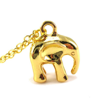 3D Standing Elephant Shaped Pendant Necklace in Gold | DOTOLY | DOTOLY