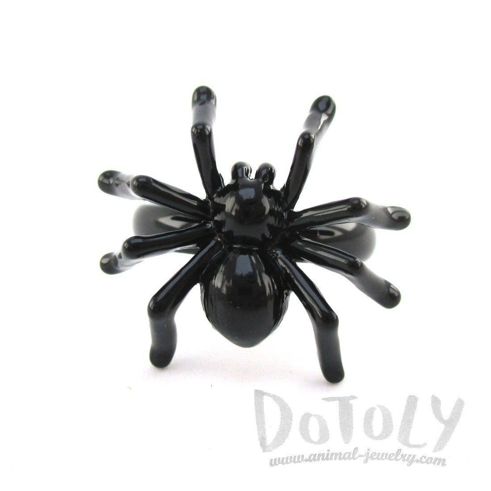3D Tarantula Spider Shaped Insect Bug Adjustable Ring in Black