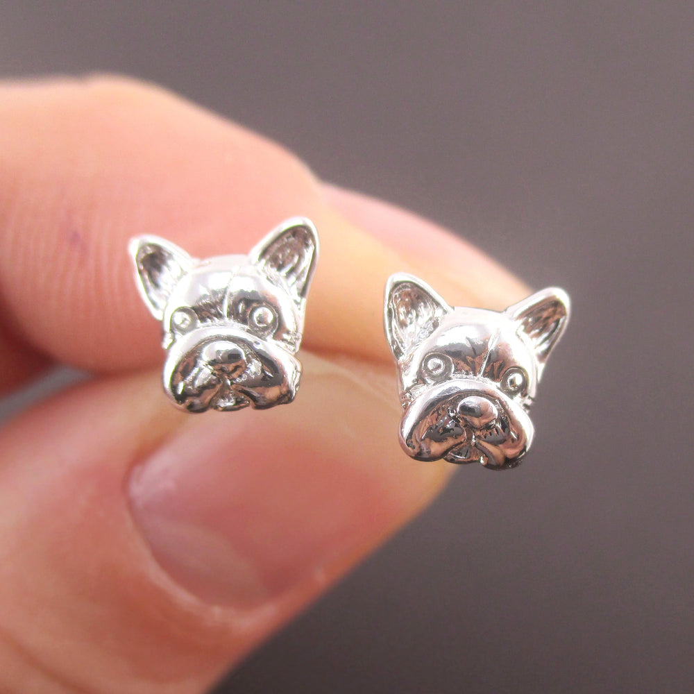 3D Tiny French Bulldog Puppy Dog Face Shaped Stud Earrings | DOTOLY