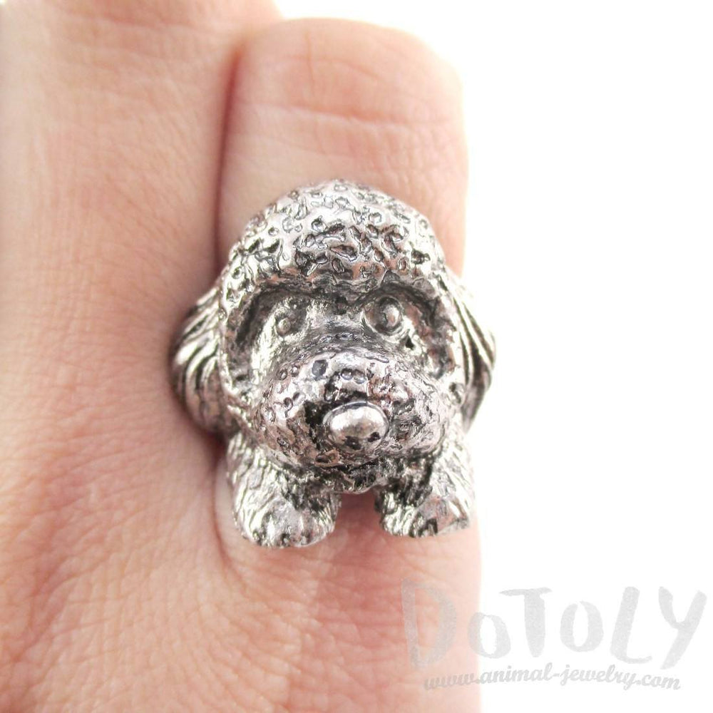 3D Toy Poodle Head Shaped Animal Ring in Silver | Gifts for Dog Lovers | DOTOLY