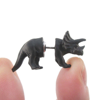 3D Triceratops Dinosaur Shaped Front and Back Stud Earrings in Black