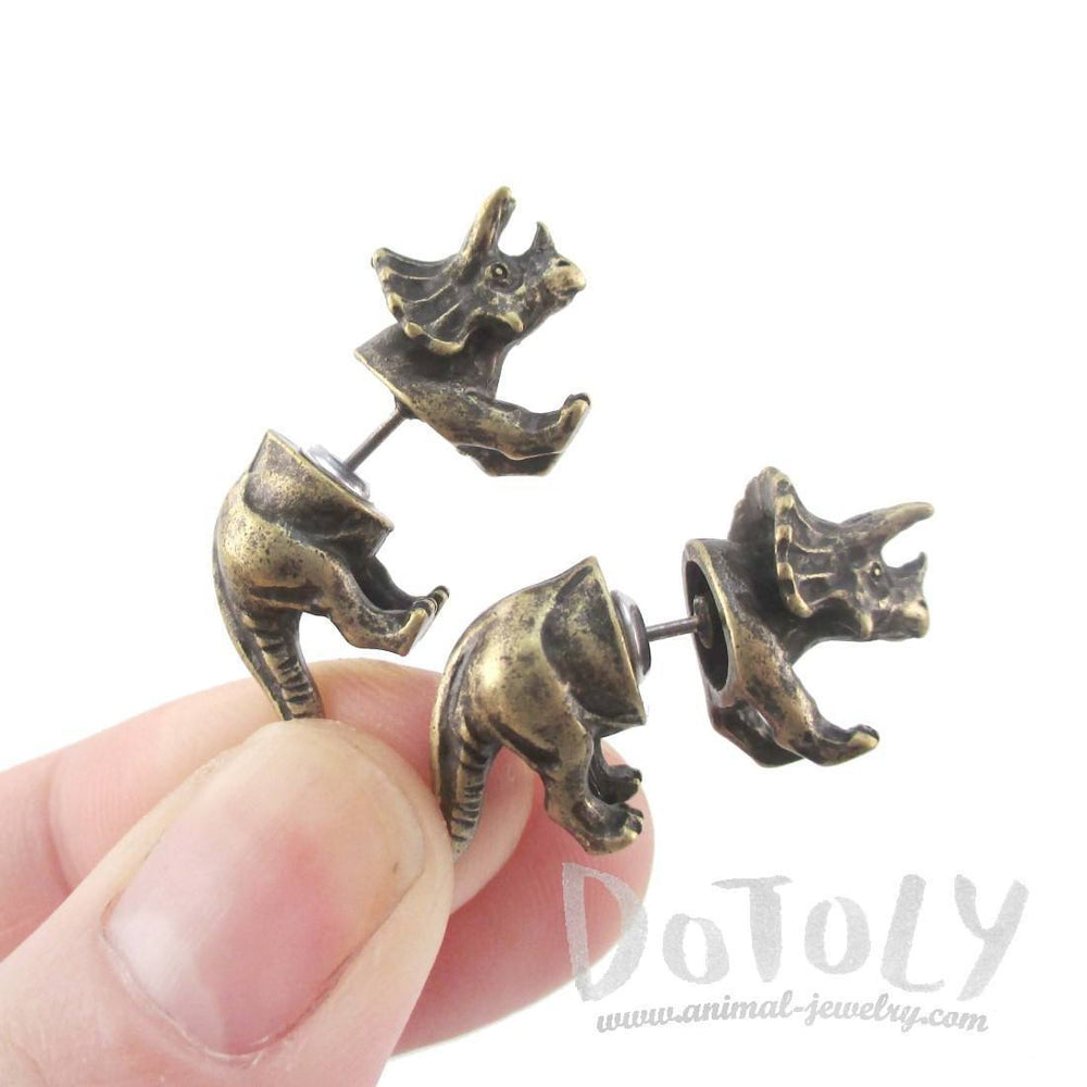 3D Triceratops Dinosaur Shaped Front and Back Stud Earrings in Brass