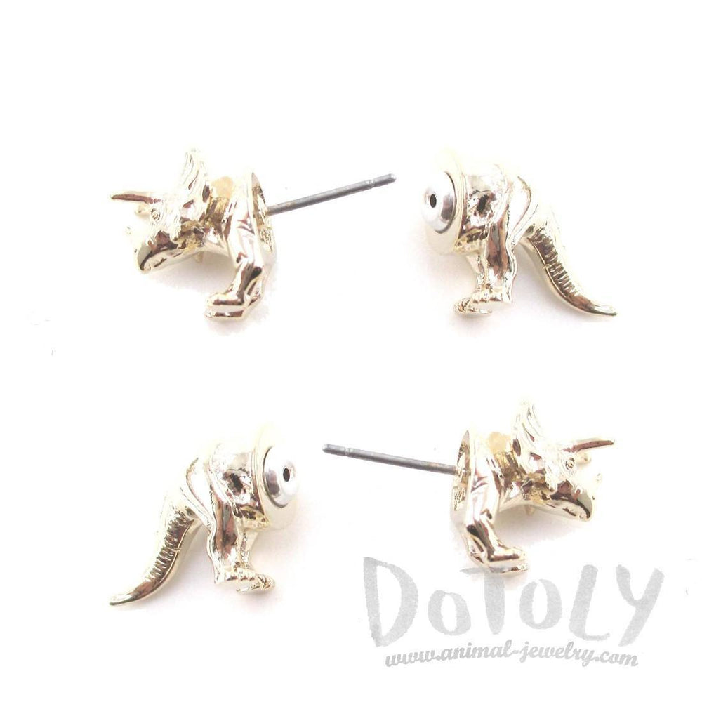 3D Triceratops Dinosaur Front and Back Stud Earrings in Shiny Gold