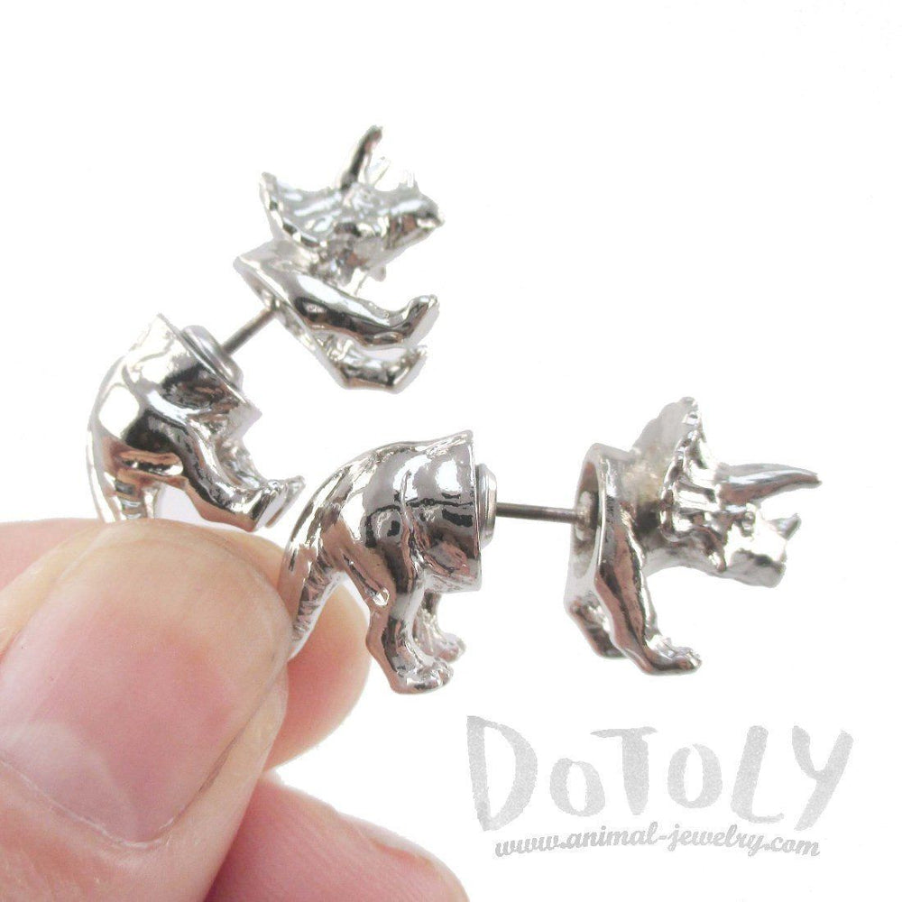3D Triceratops Dinosaur Shaped Two Part Stud Earrings in Shiny Silver