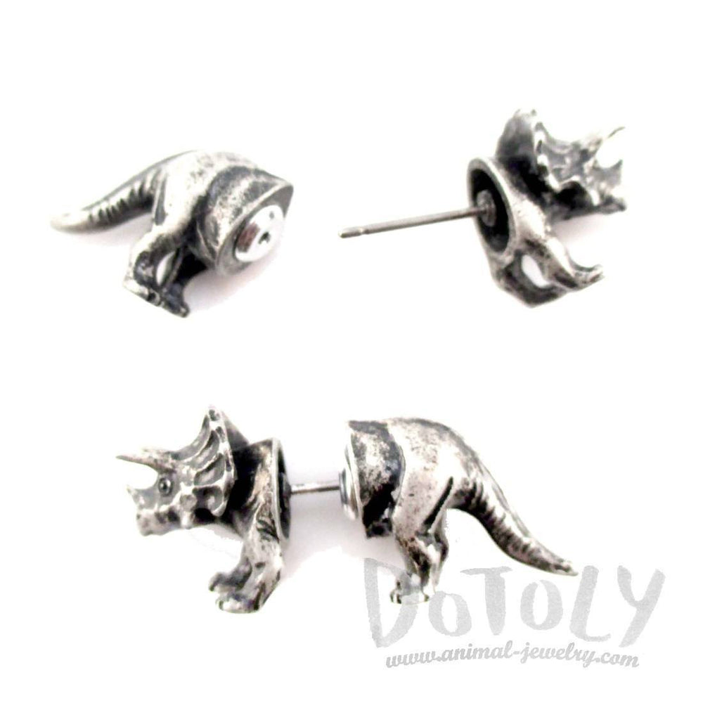 3D Triceratops Dinosaur Shaped Front and Back Stud Earrings in Silver