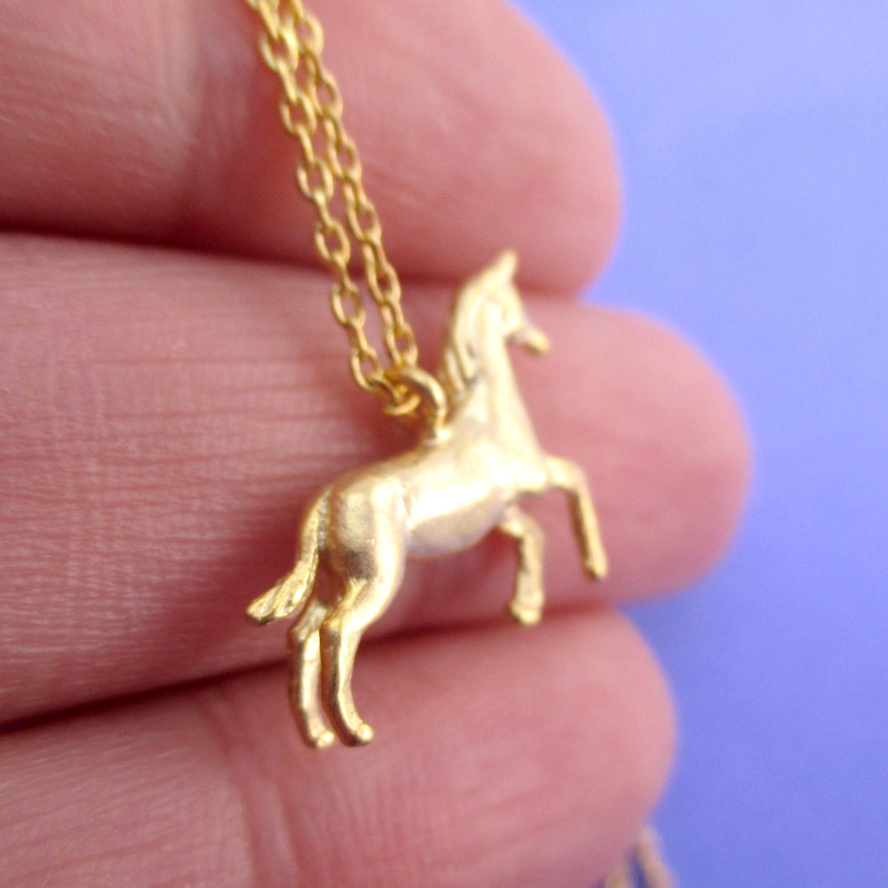 3D Unicorn Horse Shaped Pendant Necklace in Gold | DOTOLY