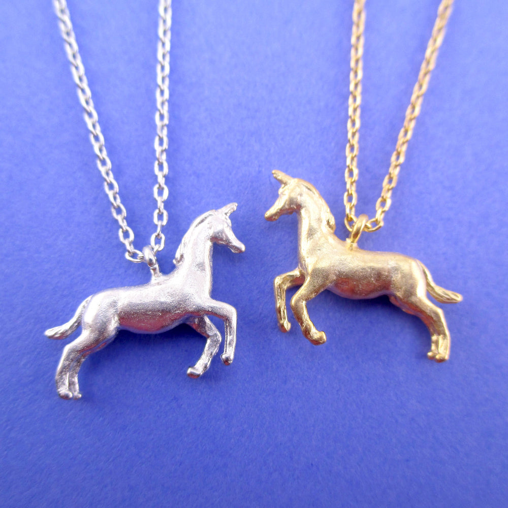 3D Unicorn Horse Shaped Pendant Necklace in Silver or Gold | DOTOLY