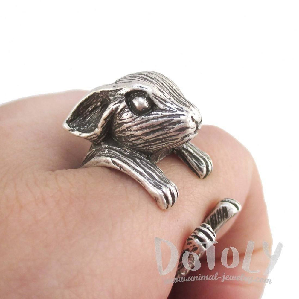 3D Unisex Rabbit Shaped Animal Ring in Silver | Animal Rings | DOTOLY