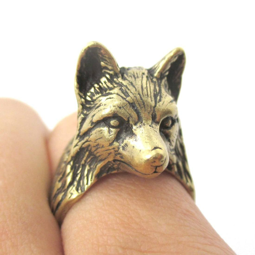 3D Unisex Wolf Face Shaped Animal Ring in Brass | US Size 6 to 10 | DOTOLY