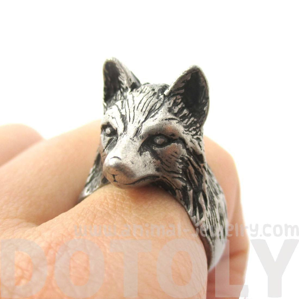 3D Unisex Wolf Face Shaped Animal Ring in Silver | US Size 6 to 10 | DOTOLY