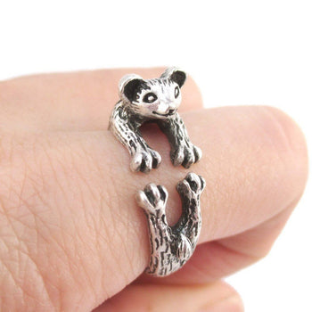 3D Weasel Ferret Mink Shaped Animal Wrap Around Ring | Animal Jewelry