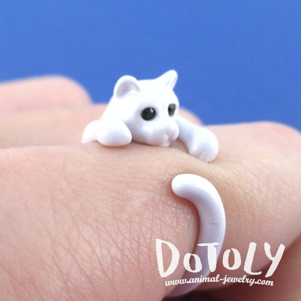 3D White Kitty Cat Wrapped Around Your Finger Shaped Animal Ring