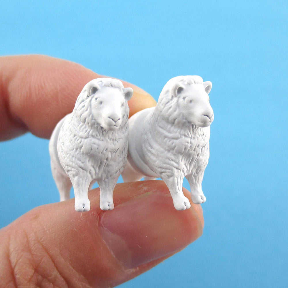 3D White Sheep Shaped Two Part Front Back Stud Earrings | DOTOLY
