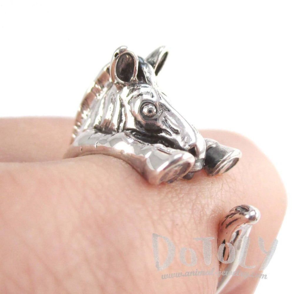 3D Zebra Shaped Animal Wrap Around Ring in 925 Sterling Silver