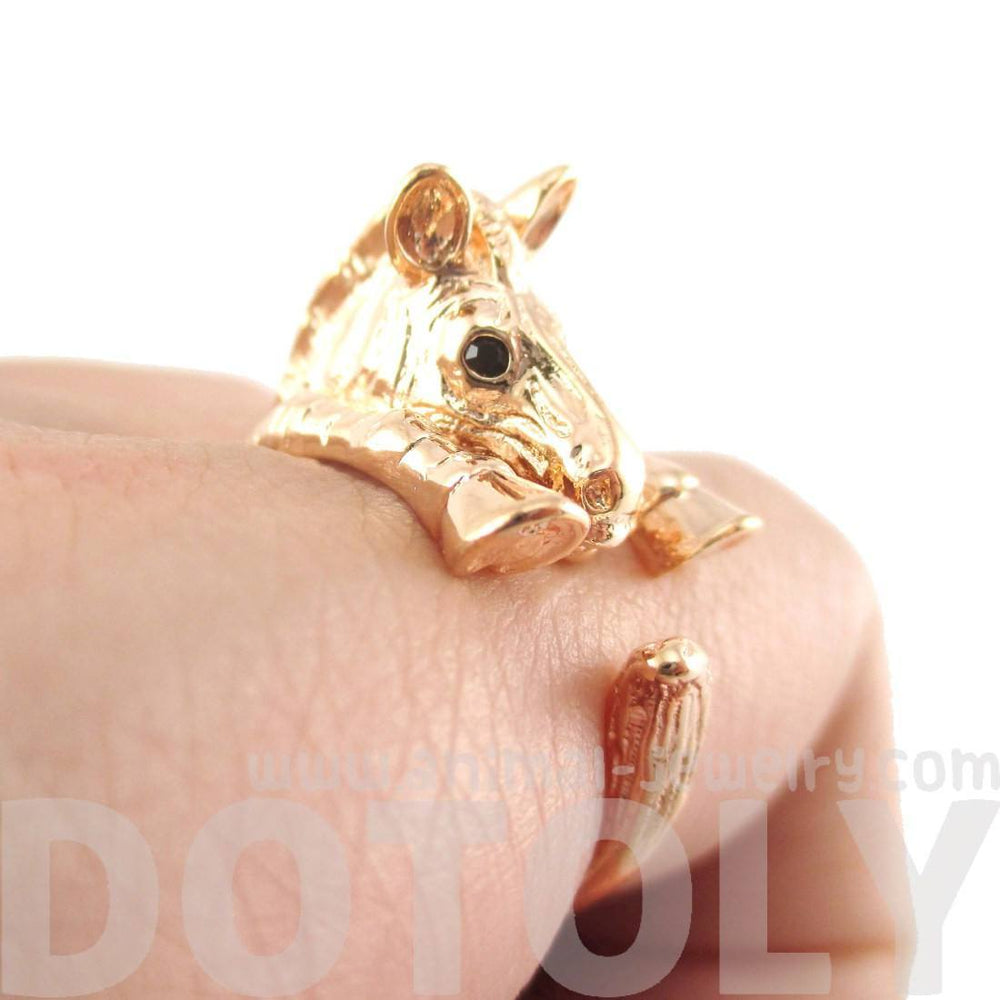 3D Zebra Shaped Animal Wrap Around Ring in Shiny Copper | US Sizes 4 to 9 | DOTOLY
