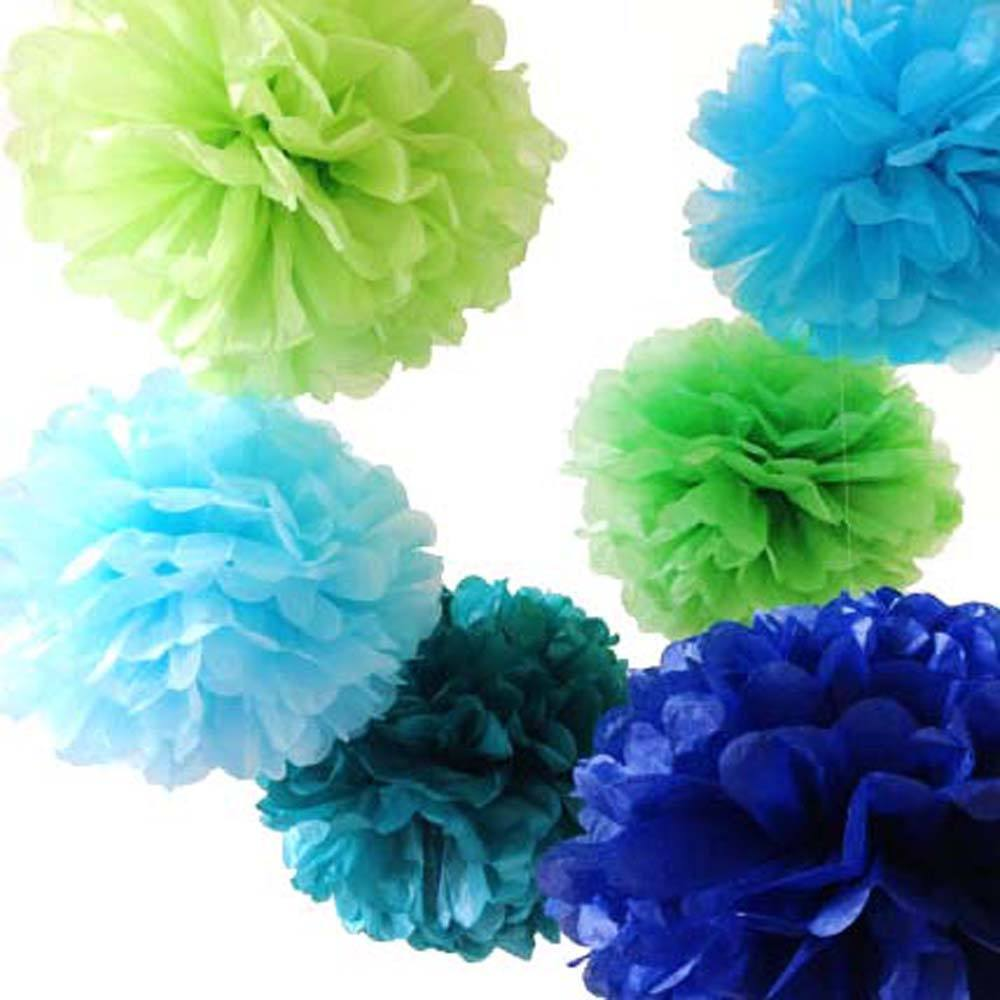 8 Tissue Paper Pom Pom Ready To Ship Set | Shades of Blue & Green ...