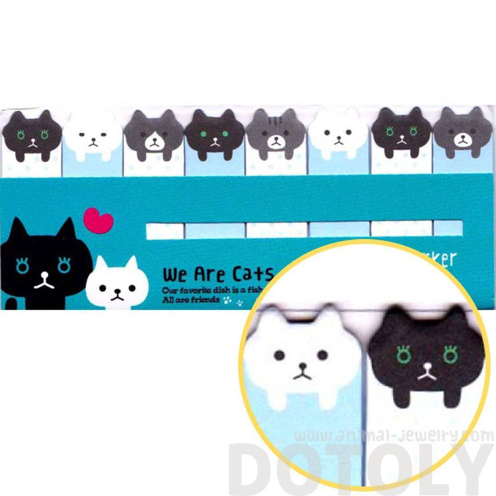Black and White Kitty Cat Shaped Animal Themed Memo Post-it Index Sticky Bookmark Tabs | DOTOLY