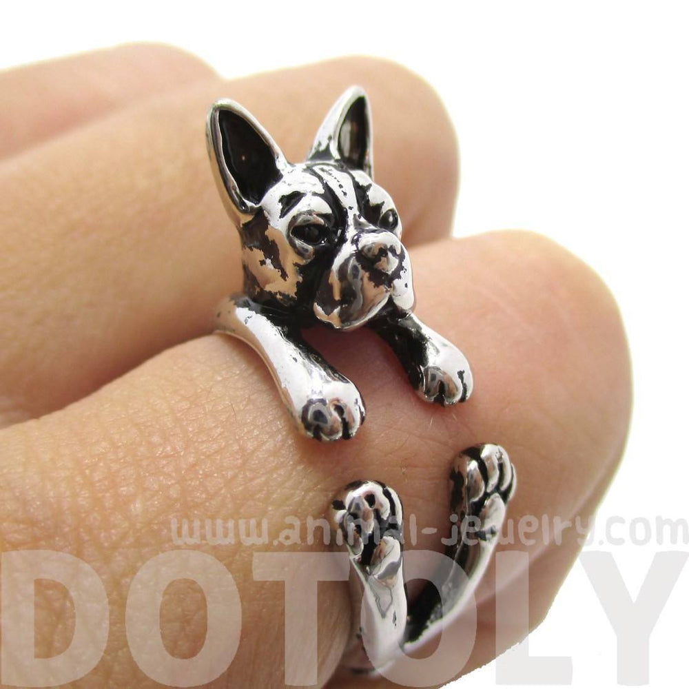 Realistic Boston Terrier Puppy Shaped Animal Wrap Ring in Shiny Silver | US Sizes 5 to 9 | DOTOLY