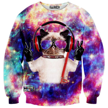 Universe Cosmic Space DJ Kitty Cat Print Sweater