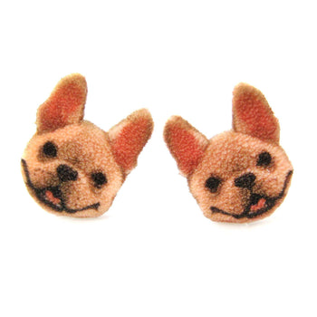 Adorable French Bulldog Puppy Animal Head Shaped Stud Earrings | Shrink Plastic | DOTOLY
