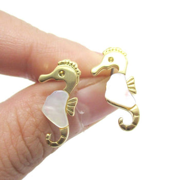 Seahorse Shaped Animal Themed Stud Earrings in Gold with Pearl Detail | DOTOLY | DOTOLY