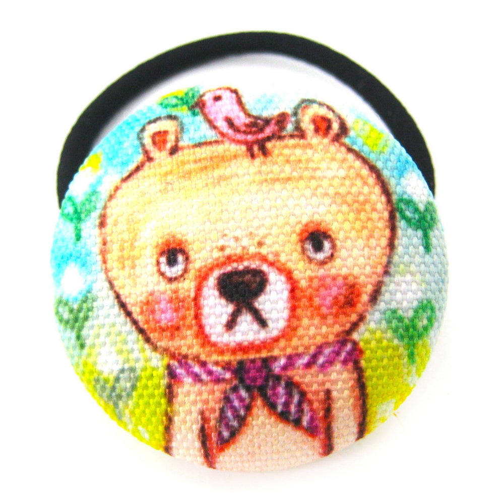 Hand Drawn Teddy Bear Animal Themed Button Hair Tie Pony Tail Holder | DOTOLY
