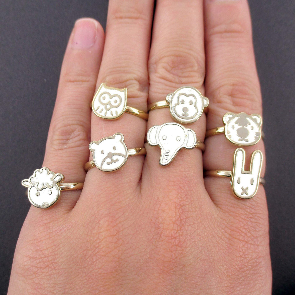 adorable-animal-shaped-7-piece-adjustable-ring-set-in-white