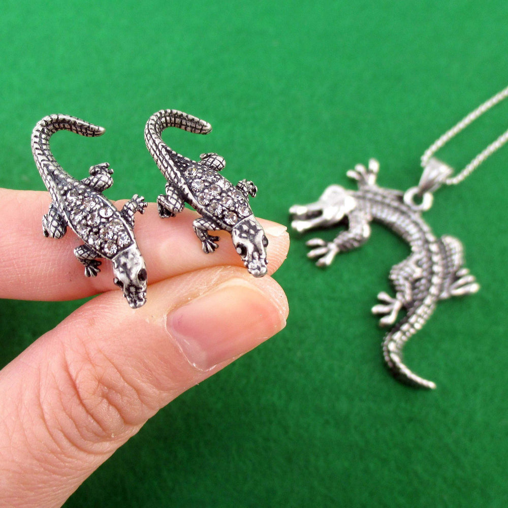 Crocodile Alligator Themed Necklace and Stud Earring Set in Silver | DOTOLY