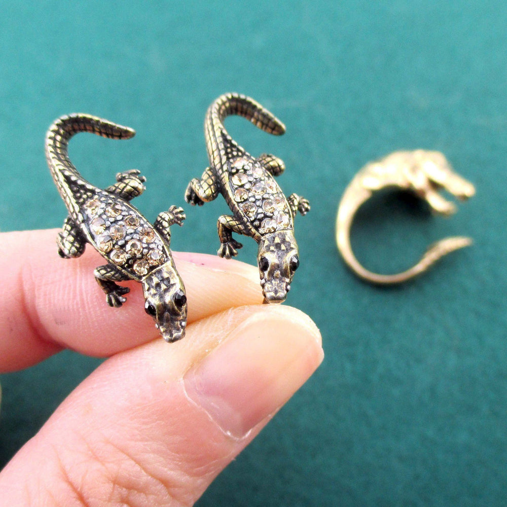 Crocodile Inspired Alligator Shaped Ring and Stud Earring Set