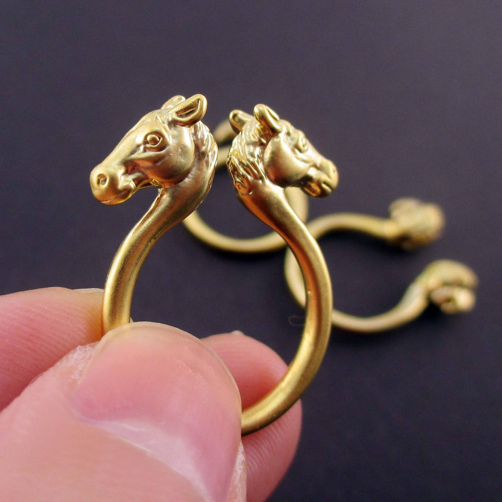 Spirit Animal Rings in the Shape of Flamingo Parrot and Horse in Gold