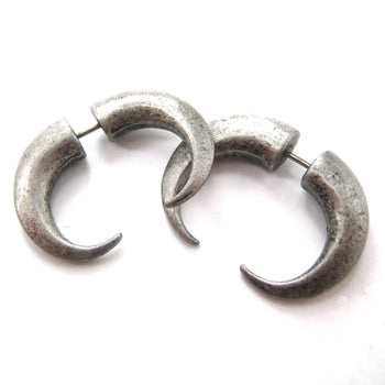 Fake Gauge Earrings: Rocker Chic Spike Hook Faux Plug Stud Earrings in Silver | DOTOLY