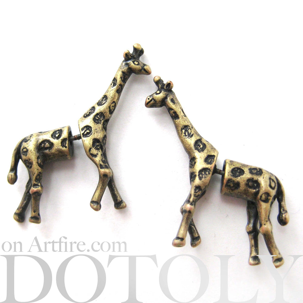 Fake Gauge Earrings: Realistic Giraffe Shaped Animal Faux Plug Stud Earrings in Brass | DOTOLY