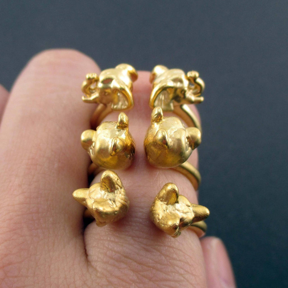 3D Animal Totem Rings in the Shape of a Panda Wolf and Elephant in Gold