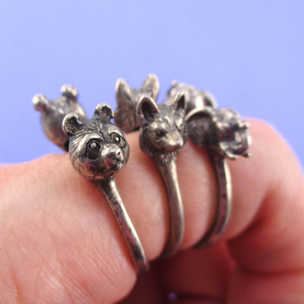 3D Animal Totem Rings in the Shape of a Panda Wolf and Elephant | 3 Piece Set